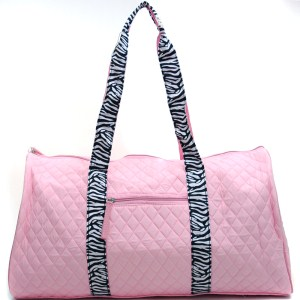 Quilted Large 20 Duffel Bag with Ribbon Accent Grey