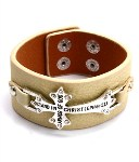 Ephesians 6 11 Beige Faux Leather Cross Bracelet