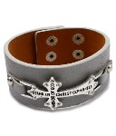 Ephesians 6 11 Gray Faux Leather Cross Bracelet
