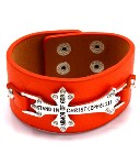 Ephesians 6 11 Orange Faux Leather Cross Bracelet