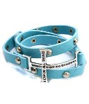 Faux Leather Cross Wrap Bracelet- Aqua