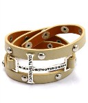 Faux Leather Cross Wrap Bracelet- Beige