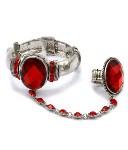 Crystal Stretch Bracelet Ring- Red