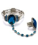 Crystal Stretch Bracelet Ring- Teal