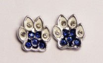 Cat Paw w/crystal & sapphire stones earring