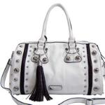 Dasein Large Studded Satchel w/ Croco Accents and Tassel - White/Coffee