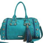 Dasein Large Studded Satchel w/ Croco Accents and Tassel - Blue