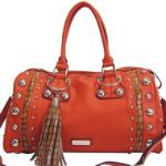 Dasein Large Studded Satchel w/ Croco Accents and Tassel - Orange/Tan