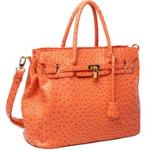 Emperia tote bag with ostritch skin texture & tassel - Orange