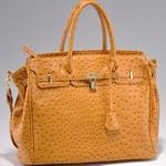 Emperia tote bag with ostritch skin texture & tassel - Light Orange