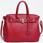 Emperia tote bag with ostritch skin texture & tassel - Red