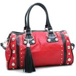 Dasein Large Studded Soft Matte Croco Satchel w/ Tassel Accent - Red/Black