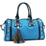 Dasein Large Studded Soft Matte Croco Satchel w/ Tassel Accent - Blue