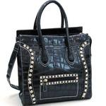 Croco Fashion Satchel w/ Rhinestone Embellishments - Black