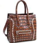 Croco Fashion Satchel w/ Rhinestone Embellishments - Brown
