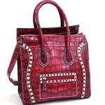 Croco Fashion Satchel w/ Rhinestone Embellishments - Burgundy