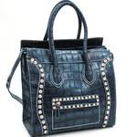 Croco Fashion Satchel w/ Rhinestone Embellishments - Navy