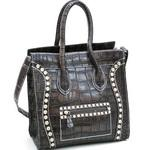 Croco Fashion Satchel w/ Rhinestone Embellishments - Dark Taupe