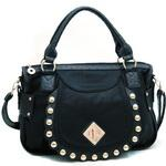 Fashion Ostrich Trim Shoulder Bag w/ Gold Ball Stud Accents - Black