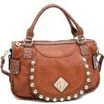 Fashion Ostrich Trim Shoulder Bag w/ Gold Ball Stud Accents - Tan