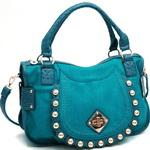Fashion Ostrich Trim Shoulder Bag w/ Gold Ball Stud Accents - Turquoise