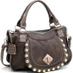 Fashion Ostrich Trim Shoulder Bag w/ Gold Ball Stud Accents - Taupe