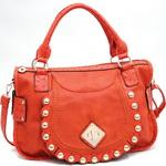 Fashion Ostrich Trim Shoulder Bag w/ Gold Ball Stud Accents - Orange