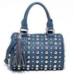 Bubbly Ball Studded Satchel w/ Tassel Accent & Bonus Strap - Blue