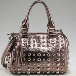 Bubbly Ball Studded Satchel w/ Tassel Accent & Bonus Strap - Bronze