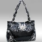 Studded Zebra Print & Croco Shoulder Bag w/ Rhinestone Star Accent - Black