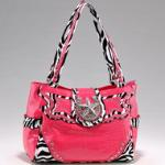Studded Zebra Print & Croco Shoulder Bag w/ Rhinestone Star Accent - Fuchsia