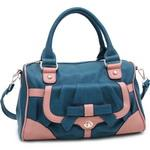 Multicolor Fashion Satchel w/ Bow Accent & Bonus Shoulder Strap - Blue/Pink Trim
