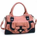 Multicolor Fashion Satchel w/ Bow Accent & Bonus Shoulder Strap - L. Pk/Bk Trim