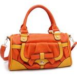 Multicolor Fashion Satchel w/ Bow Accent & Bonus Shoulder Strap - Orange/Mustard