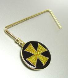 Gold Glitter Cross Purse Hook-Gold Glitter Cross Purse Hook