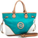 Women's Multicolored Logo Tote w/ Quilted Patch & Drawstring Accents - Turquoise/Tan/White