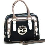 Women's Multicolored Logo Satchel w/ Belted Accents - Black/Taupe/White