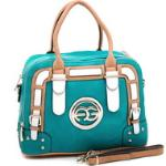 Women's Multicolored Logo Satchel w/ Belted Accents - Turquoise/Tan/White