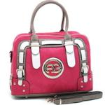 Women's Multicolored Logo Satchel w/ Belted Accents - Pink/Taupe/White