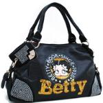 Betty Boop Shoulder Bag w/ Sequins & Rhinestones - Black