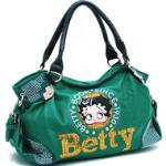 Betty Boop Shoulder Bag w/ Sequins & Rhinestones - Green