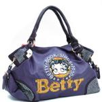 Betty Boop Shoulder Bag w/ Sequins & Rhinestones - Purple