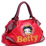 Betty Boop Shoulder Bag w/ Sequins & Rhinestones - Red