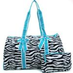 Women's Large Quilted Zebra Print Weekender Duffle Bag w/ Bow Accents - Blue