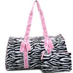 Women's Large Quilted Zebra Print Weekender Duffle Bag w/ Bow Accents - Pink