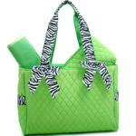 Quilted 3pc Diaper Tote Bag w/ Zebra Print Trim & 2 Side Pockets - Green