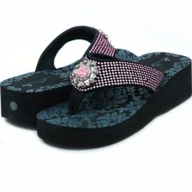Women's Flip Flops w/ Sun style rhinestone ornament