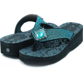 Women's Flip Flops w/ Jeweled diamond ornament & rhinestones