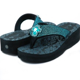 Women's Flip Flops w/ Jeweled cross & rhinestones