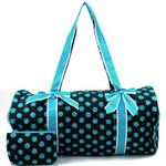 Large Quilted Polka Dot Duffle Bag w/ Bonus Makeup Bag - Black/Blue